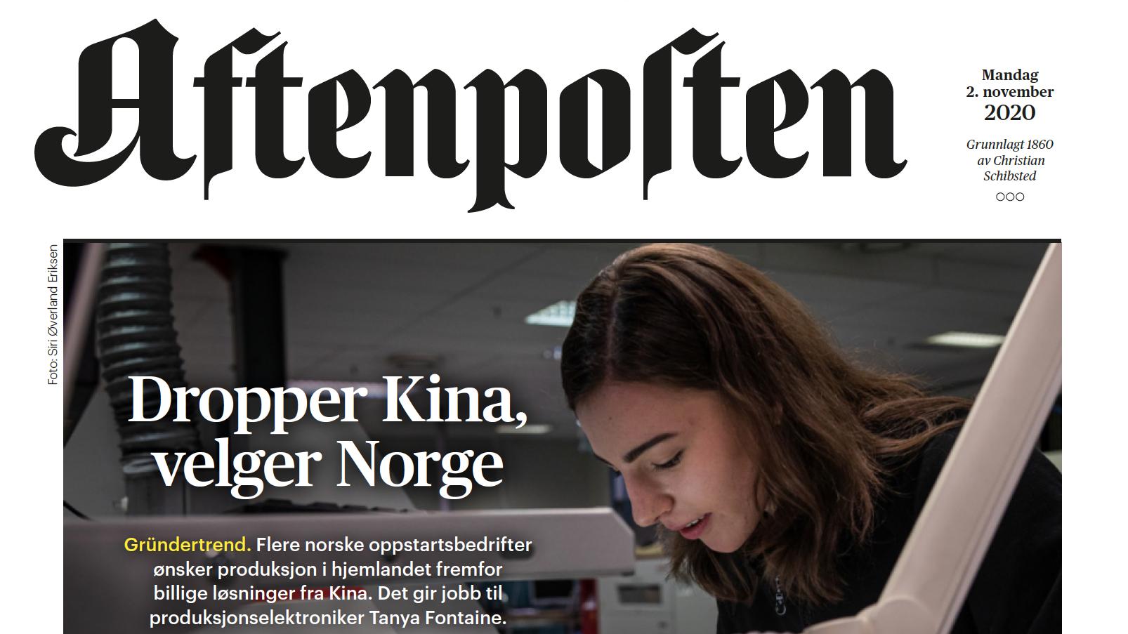 AXXE I AFTENPOSTEN: DROPPER KINA, VELGER NORGE